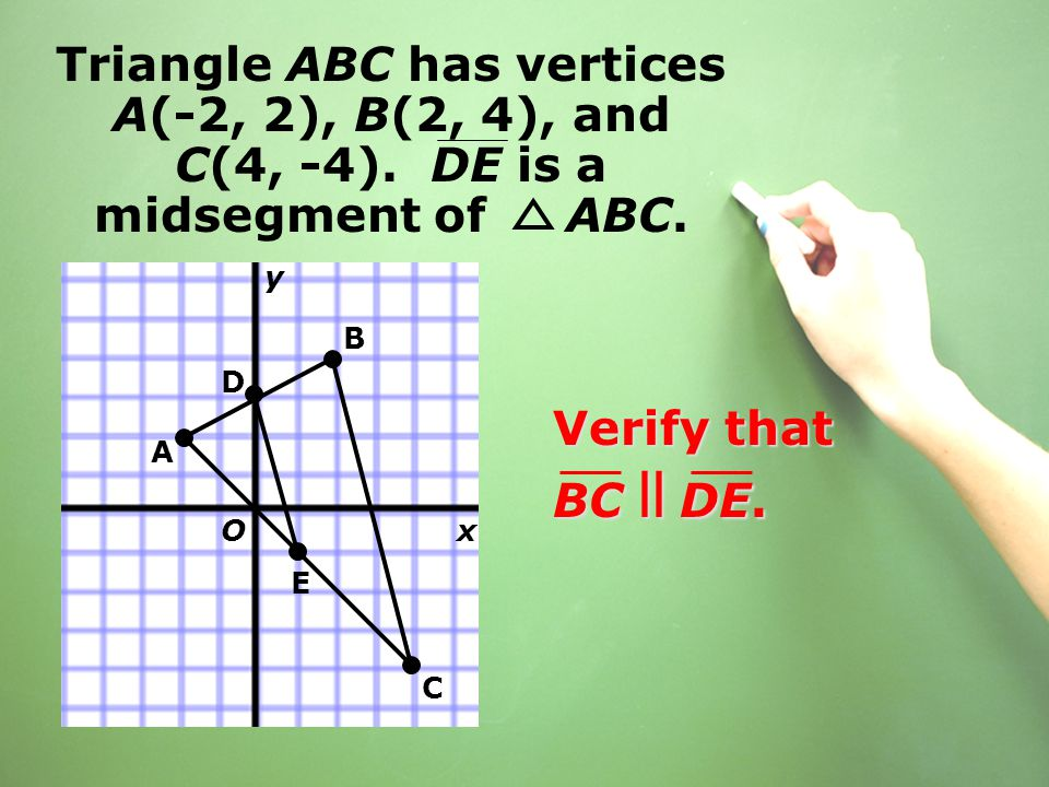 Triangle ABC has vertices A(-2, 2), B(2, 4), and C(4, -4). DE is a midsegment of ABC. Verify that BC ll DE. B D E A C x y O