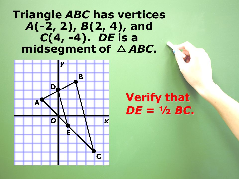 Triangle ABC has vertices A(-2, 2), B(2, 4), and C(4, -4). DE is a midsegment of ABC. Verify that DE = ½ BC. B D E A C x y O