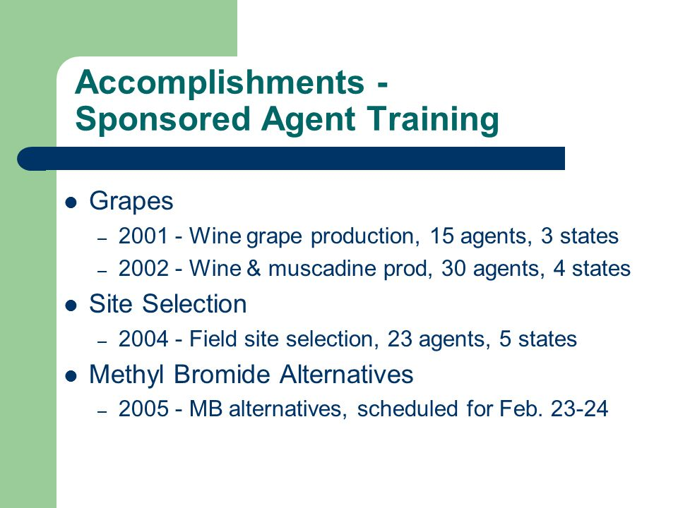 Accomplishments - Sponsored Agent Training Strawberries – 1999 - Plasticulture, 19 agents, 6 states – 2000 - Plasticulture, 34 agents, 5 states – 2003