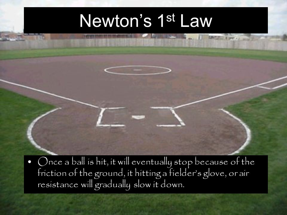 Newton's 1 st Law Once a ball is hit, it will eventually stop because of the friction of the ground, it hitting a fielder's glove, or air resistance will gradually slow it down.