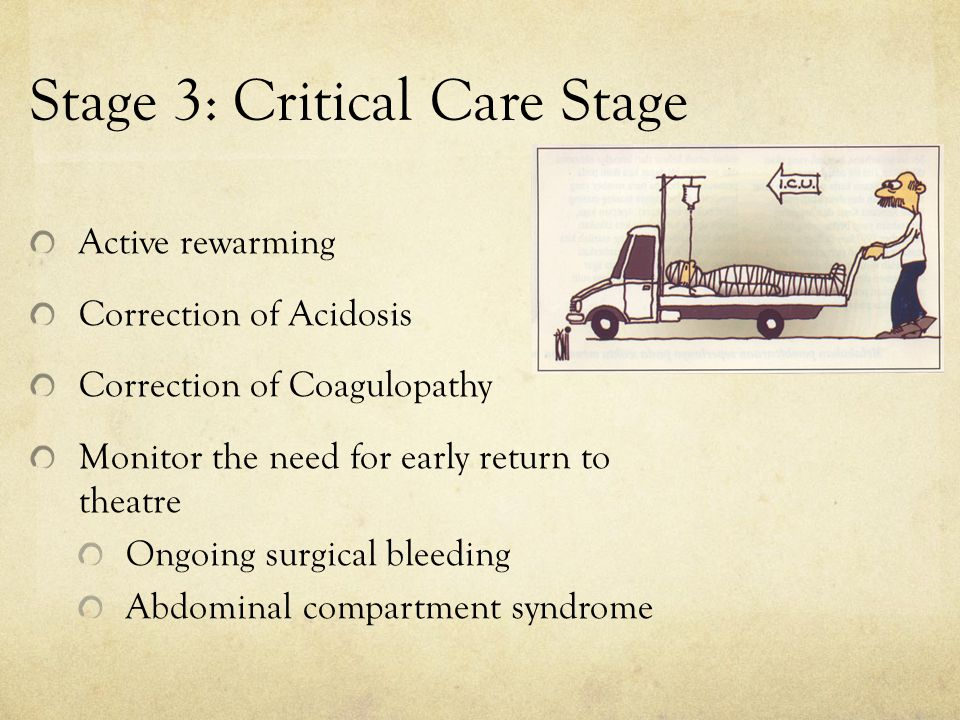 Stage 3: Critical Care Stage Active rewarming Correction of Acidosis Correction of Coagulopathy Monitor the need for early return to theatre Ongoing s
