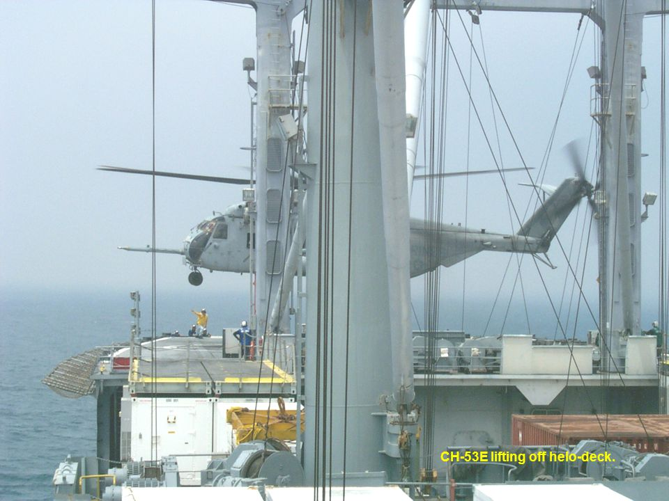 CH-53E lifting off helo-deck.