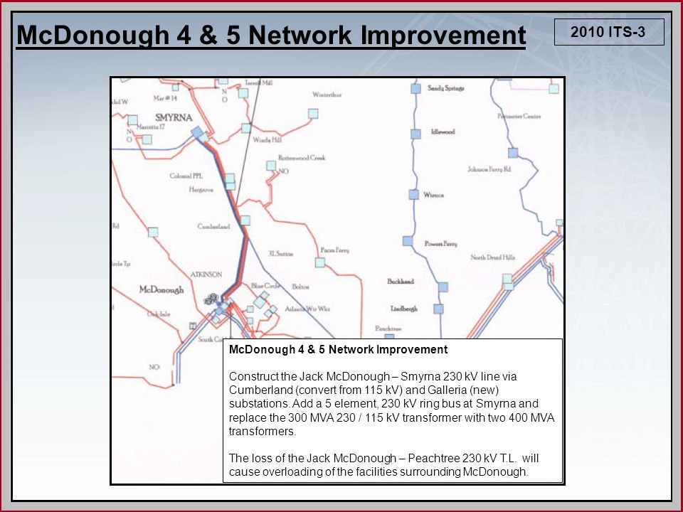 2010 ITS-3 McDonough 4 & 5 Network Improvement Construct the Jack McDonough – Smyrna 230 kV line via Cumberland (convert from 115 kV) and Galleria (ne