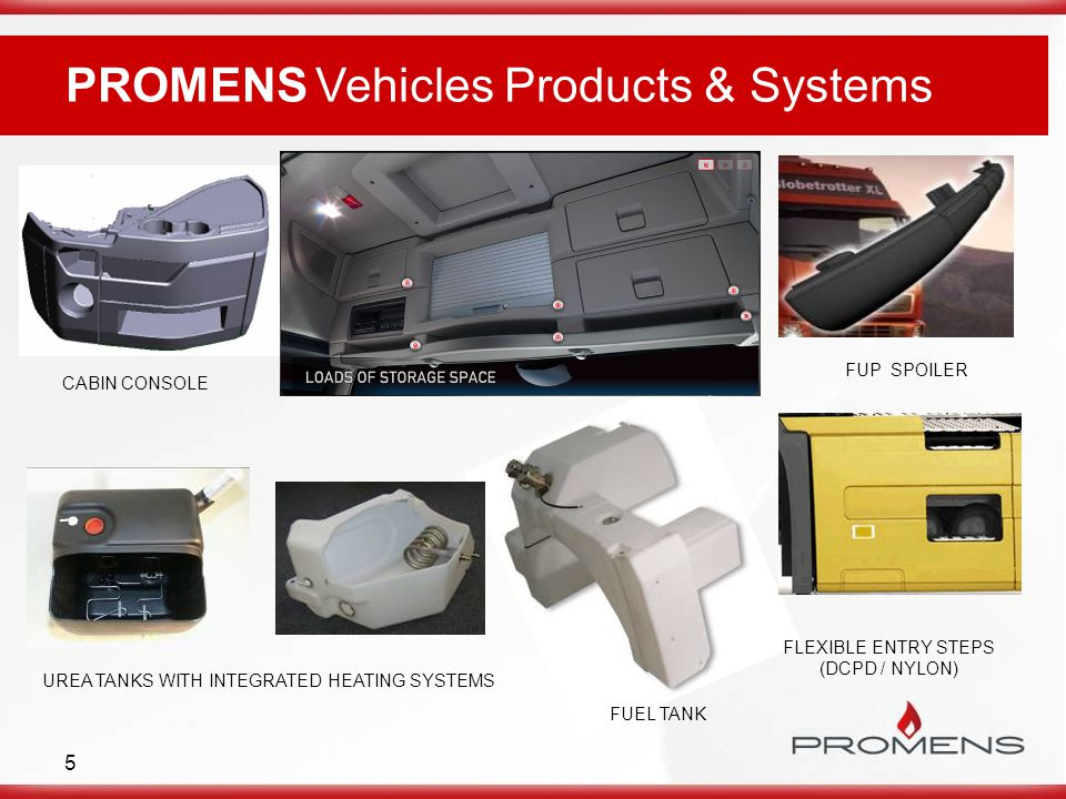 5 PROMENS Vehicles Products & Systems FUEL TANK CABIN CONSOLE UREA TANKS WITH INTEGRATED HEATING SYSTEMS FLEXIBLE ENTRY STEPS (DCPD / NYLON) FUP SPOILER