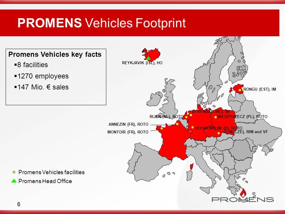 6 Promens Vehicles key facts  8 facilities  1270 employees  147 Mio. € sales ZEVENAAR (NL), IM ZLIN (CZE), RIM and VF RONGU (EST), IM REYKJAVIK (IS
