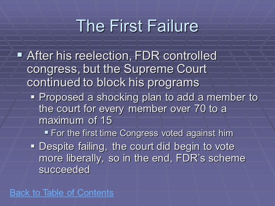 Back to Table of Contents The First Failure  After his reelection, FDR controlled congress, but the Supreme Court continued to block his programs  Proposed a shocking plan to add a member to the court for every member over 70 to a maximum of 15  For the first time Congress voted against him  Despite failing, the court did begin to vote more liberally, so in the end, FDR's scheme succeeded