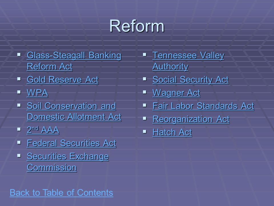 Back to Table of ContentsReform  Glass-Steagall Banking Reform Act Glass-Steagall Banking Reform Act Glass-Steagall Banking Reform Act  Gold Reserve Act Gold Reserve Act Gold Reserve Act  WPA WPA  Soil Conservation and Domestic Allotment Act Soil Conservation and Domestic Allotment Act Soil Conservation and Domestic Allotment Act  2 nd AAA 2 nd AAA 2 nd AAA  Federal Securities Act Federal Securities Act Federal Securities Act  Securities Exchange Commission Securities Exchange Commission Securities Exchange Commission  Tennessee Valley Authority Tennessee Valley Authority Tennessee Valley Authority  Social Security Act Social Security Act Social Security Act  Wagner Act Wagner Act Wagner Act  Fair Labor Standards Act Fair Labor Standards Act Fair Labor Standards Act  Reorganization Act Reorganization Act Reorganization Act  Hatch Act Hatch Act Hatch Act