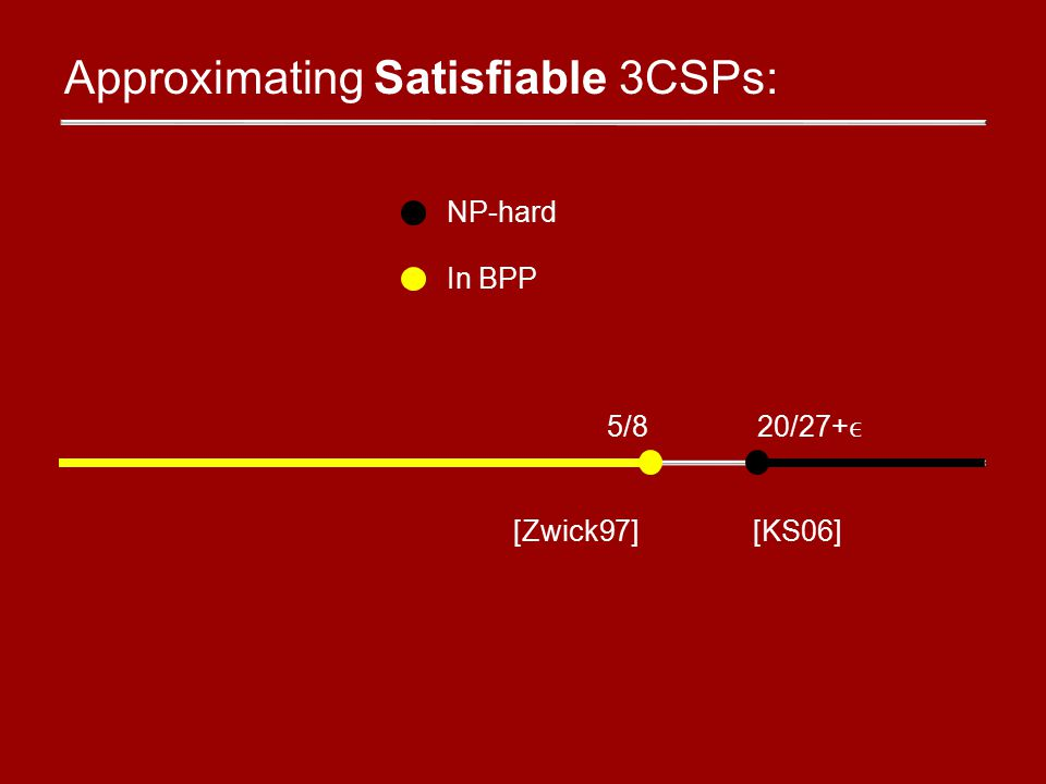 Approximating Satisfiable 3CSPs: NP-hard In BPP 5/820/27+ [KS06][Zwick97]