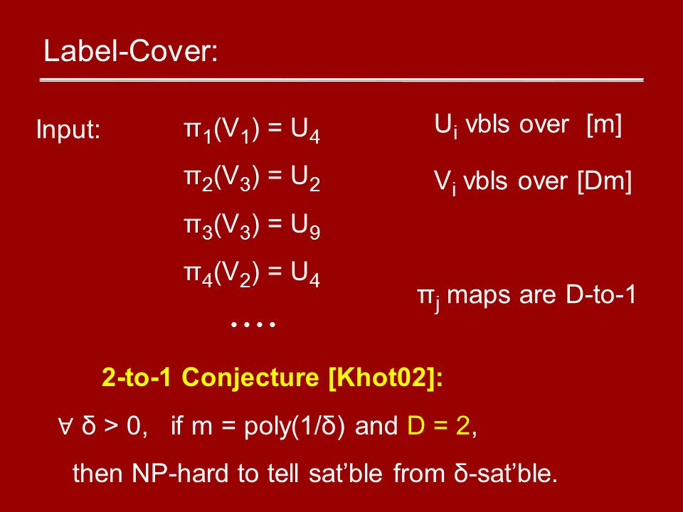 Label-Cover: π 1 (V 1 ) = U 4 π 2 (V 3 ) = U 2 π 3 (V 3 ) = U 9 π 4 (V 2 ) = U 4 Input: U i vbls over [m] V i vbls over [Dm] π j maps are D-to-1 2-to-1 Conjecture [Khot02]: ∀ δ > 0, if m = poly(1/δ) and D = 2, then NP-hard to tell sat'ble from δ-sat'ble.