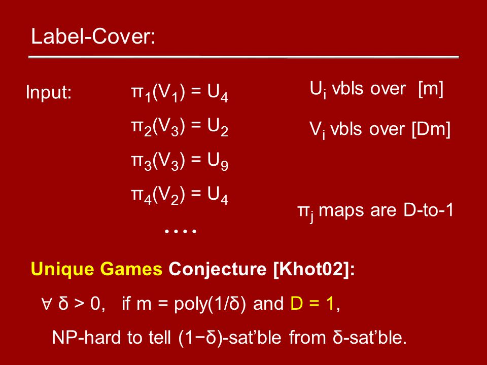 Label-Cover: π 1 (V 1 ) = U 4 π 2 (V 3 ) = U 2 π 3 (V 3 ) = U 9 π 4 (V 2 ) = U 4 Input: U i vbls over [m] V i vbls over [Dm] π j maps are D-to-1 Unique Games Conjecture [Khot02]: ∀ δ > 0, if m = poly(1/δ) and D = 1, NP-hard to tell (1−δ)-sat'ble from δ-sat'ble.