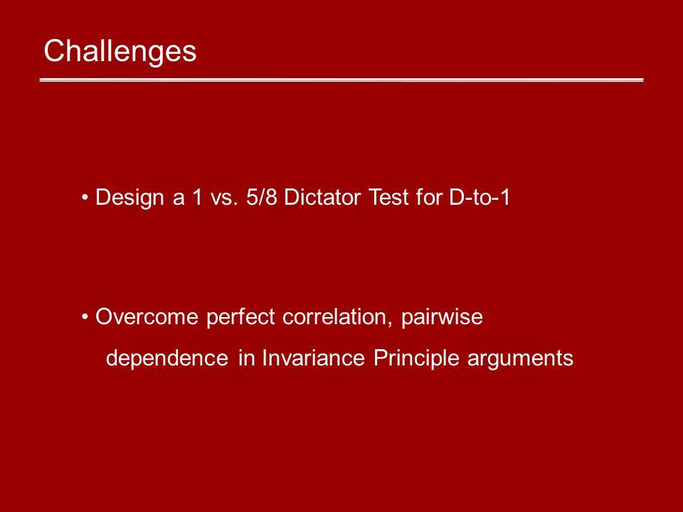 Challenges Design a 1 vs.