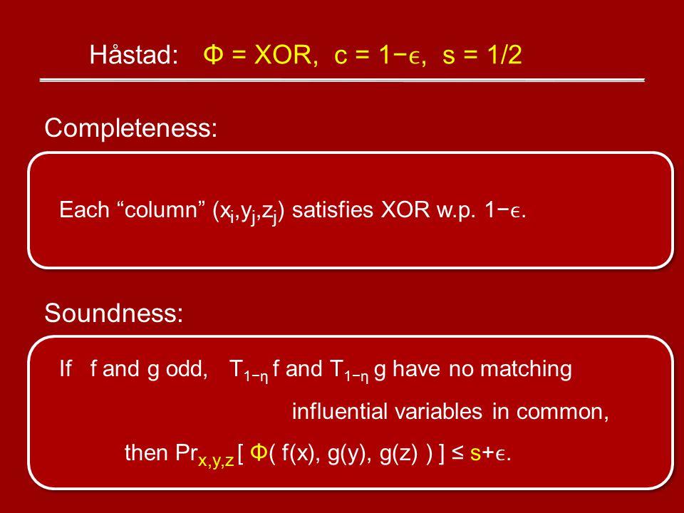 Completeness: Each column (x i,y j,z j ) satisfies XOR w.p.
