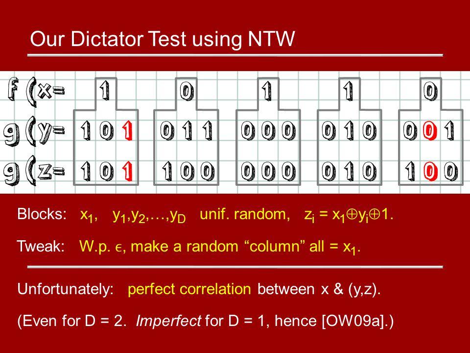 Our Dictator Test using NTW Blocks: x 1, y 1,y 2,…,y D unif.