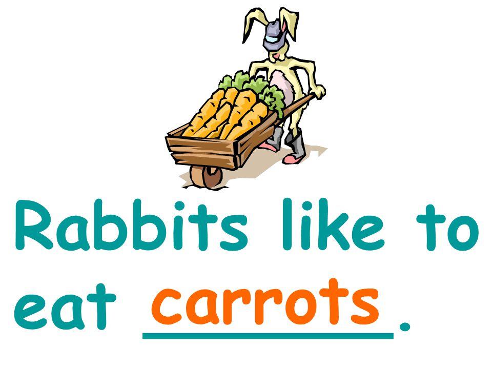 Rabbits like to eat ______. carrots