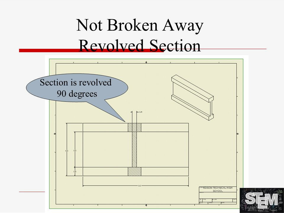 Not Broken Away Revolved Section Section is revolved 90 degrees