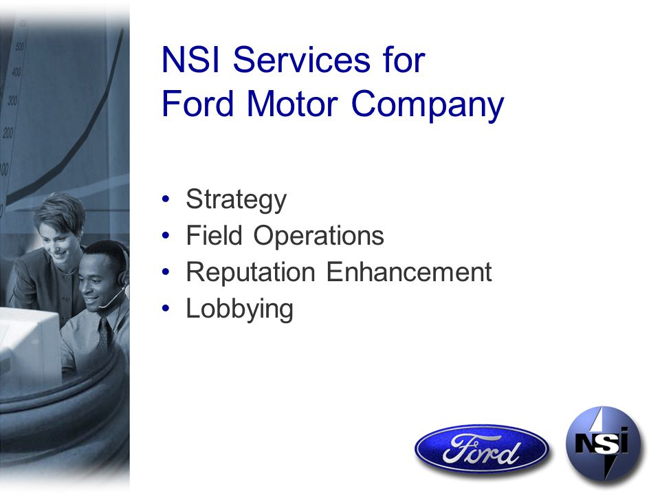 The NSI Team Approach The Ford Team –Al Gordon –Paul Hatch –Tim Onoff –500 Consultants Nationwide We Play To Win.
