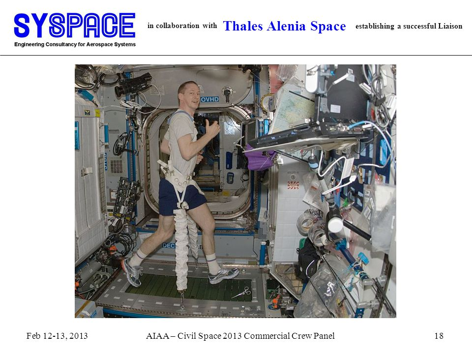 in collaboration with establishing a successful Liaison Thales Alenia Space 18AIAA – Civil Space 2013 Commercial Crew PanelFeb 12-13, 2013