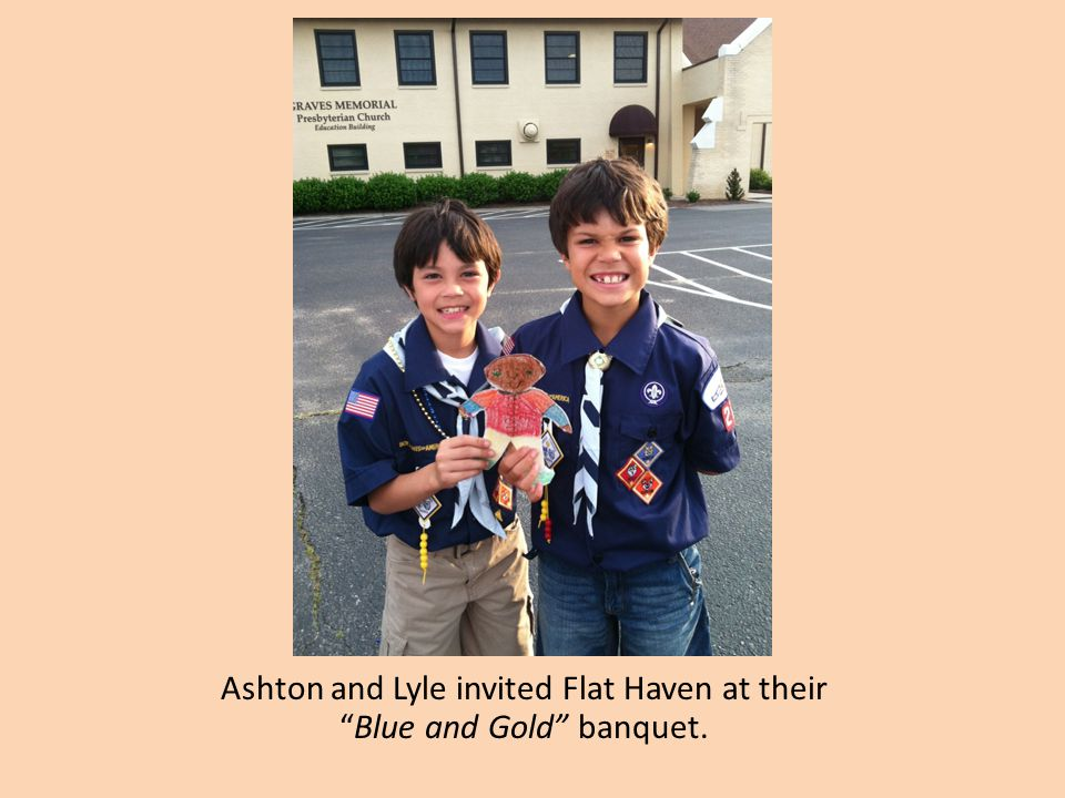 Ashton and Lyle invited Flat Haven at their Blue and Gold banquet.