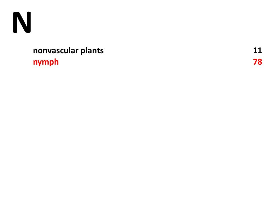 N nonvascular plants11 nymph78