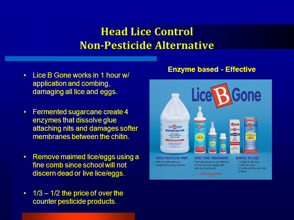 Head Lice Control Non-Pesticide Alternative Lice B Gone works in 1 hour w/ application and combing, damaging all lice and eggs.