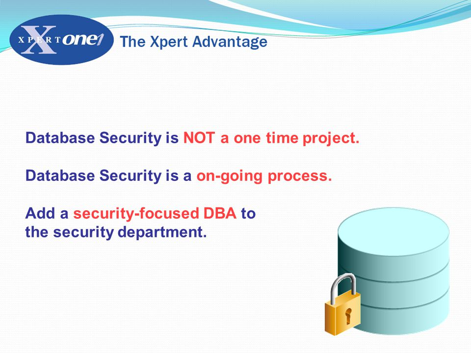 Database Security is NOT a one time project. Database Security is a on-going process.