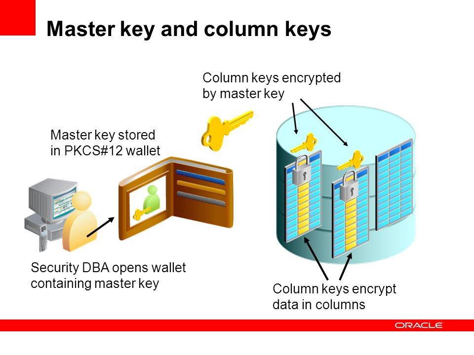 Master key and column keys Column keys encrypted by master key Master key stored in PKCS#12 wallet Security DBA opens wallet containing master key Col