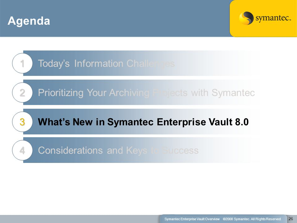 Agenda Today's Information Challenges1 Prioritizing Your Archiving Projects with Symantec2 What's New in Symantec Enterprise Vault 8.03 26 Considerations and Keys to Success4 Symantec Enterprise Vault Overview ©2008 Symantec.