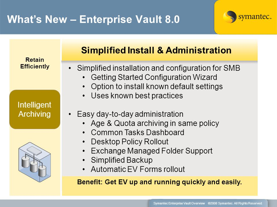 Simplified installation and configuration for SMB Getting Started Configuration Wizard Option to install known default settings Uses known best practi