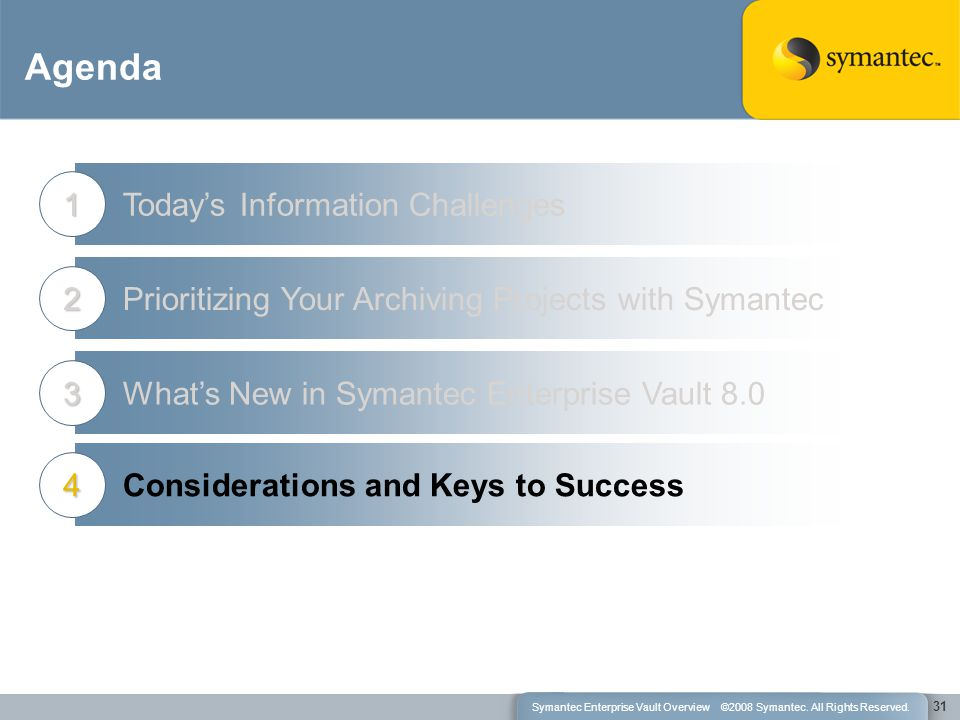 Agenda Today's Information Challenges1 Prioritizing Your Archiving Projects with Symantec2 What's New in Symantec Enterprise Vault 8.03 31 Considerations and Keys to Success4 Symantec Enterprise Vault Overview ©2008 Symantec.
