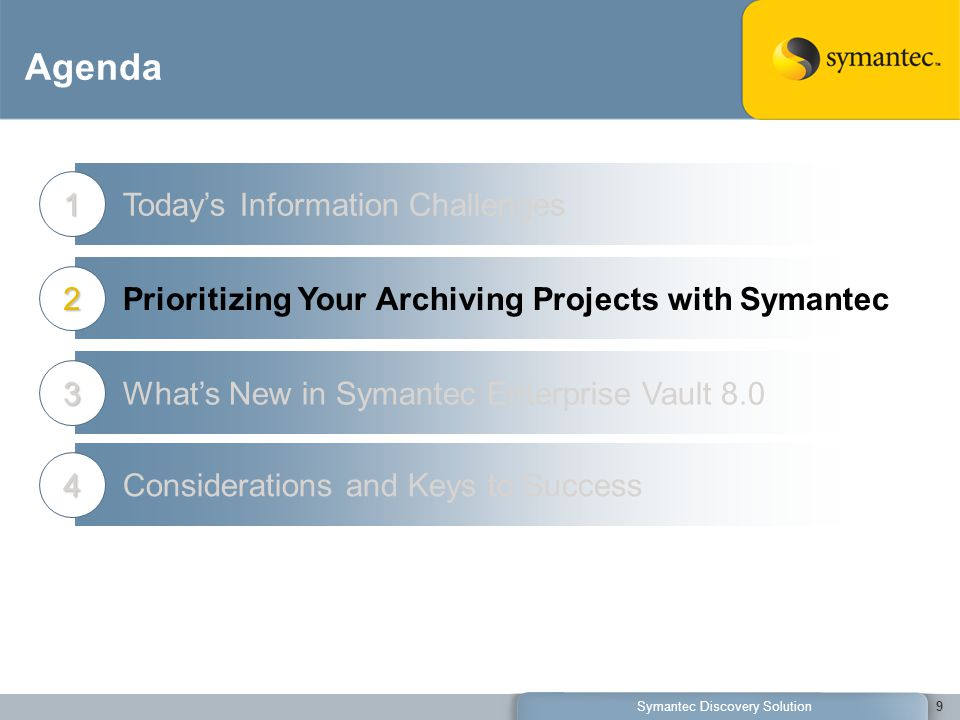 Agenda Today's Information Challenges1 Prioritizing Your Archiving Projects with Symantec2 What's New in Symantec Enterprise Vault 8.03 9Symantec Discovery Solution Considerations and Keys to Success4