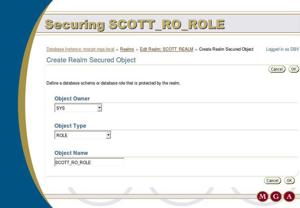 Securing SCOTT_RO_ROLE