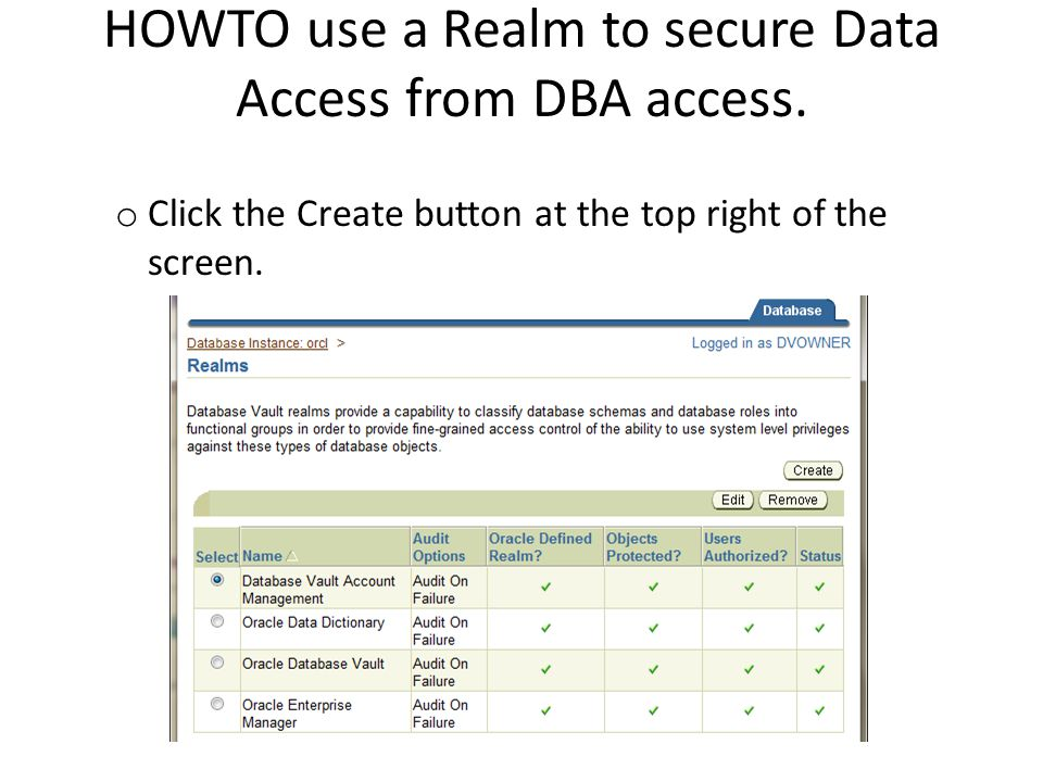 HOWTO use a Realm to secure Data Access from DBA access.