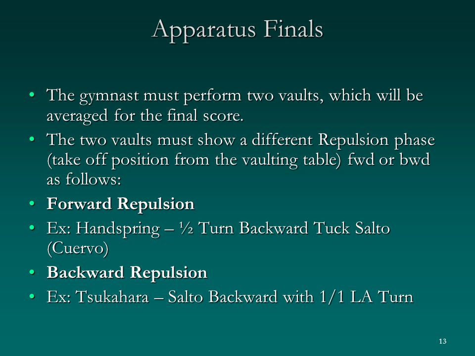 13 Apparatus Finals The gymnast must perform two vaults, which will be averaged for the final score.The gymnast must perform two vaults, which will be averaged for the final score.