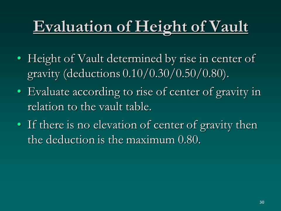 30 Evaluation of Height of Vault Height of Vault determined by rise in center of gravity (deductions 0.10/0.30/0.50/0.80).Height of Vault determined by rise in center of gravity (deductions 0.10/0.30/0.50/0.80).