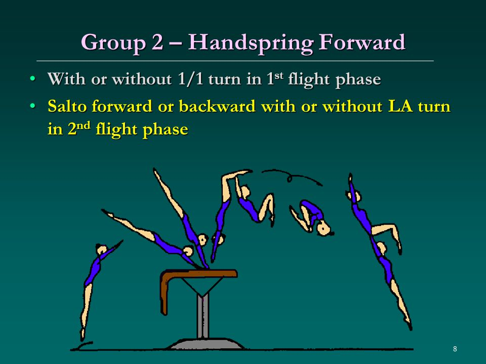 8 Group 2 – Handspring Forward With or without 1/1 turn in 1 st flight phaseWith or without 1/1 turn in 1 st flight phase Salto forward or backward with or without LA turn in 2 nd flight phaseSalto forward or backward with or without LA turn in 2 nd flight phase