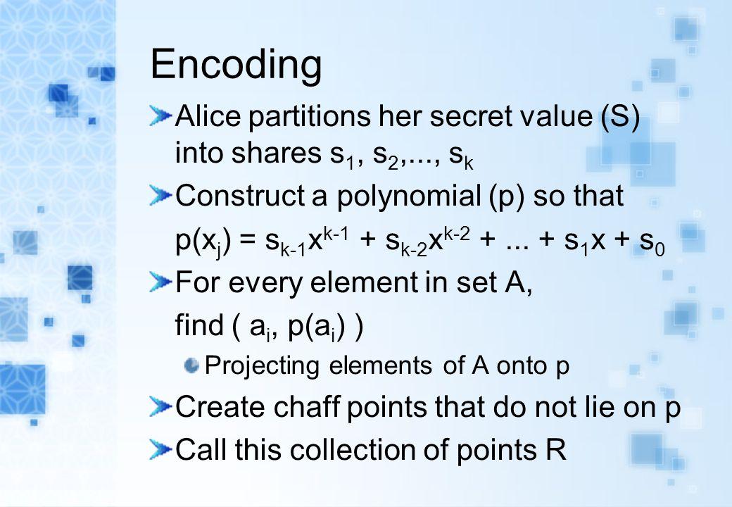 Encoding Alice partitions her secret value (S) into shares s 1, s 2,..., s k Construct a polynomial (p) so that p(x j ) = s k-1 x k-1 + s k-2 x k-2 +.