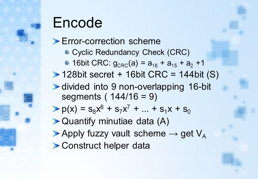 Encode Error-correction scheme Cyclic Redundancy Check (CRC) 16bit CRC: g CRC (a) = a 16 + a 15 + a 2 +1 128bit secret + 16bit CRC = 144bit (S) divide