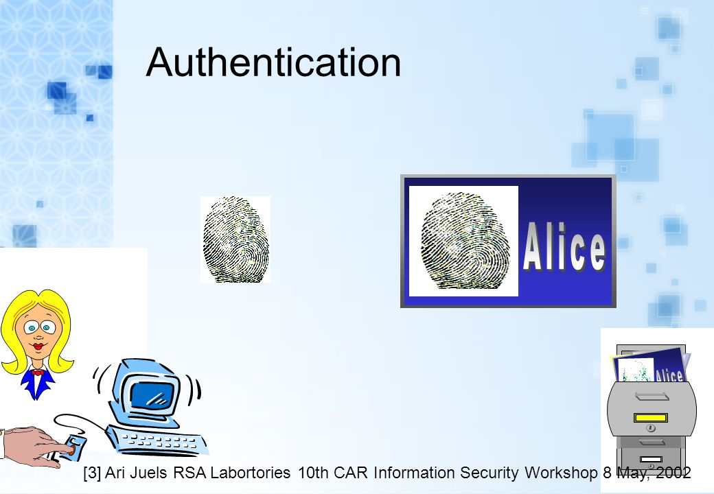 Authentication [3] Ari Juels RSA Labortories 10th CAR Information Security Workshop 8 May, 2002