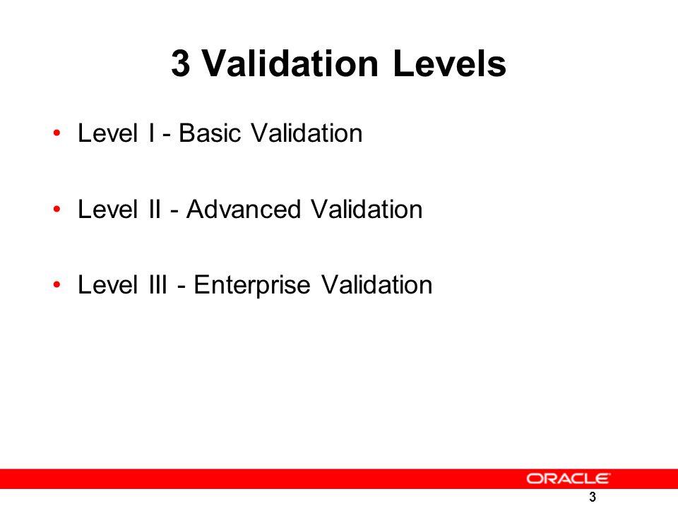 3 3 Validation Levels Level I - Basic Validation Level II - Advanced Validation Level III - Enterprise Validation