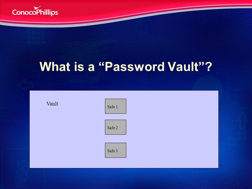 What is a Password Vault ? Safe 1 Safe 3 Safe 2 Vault