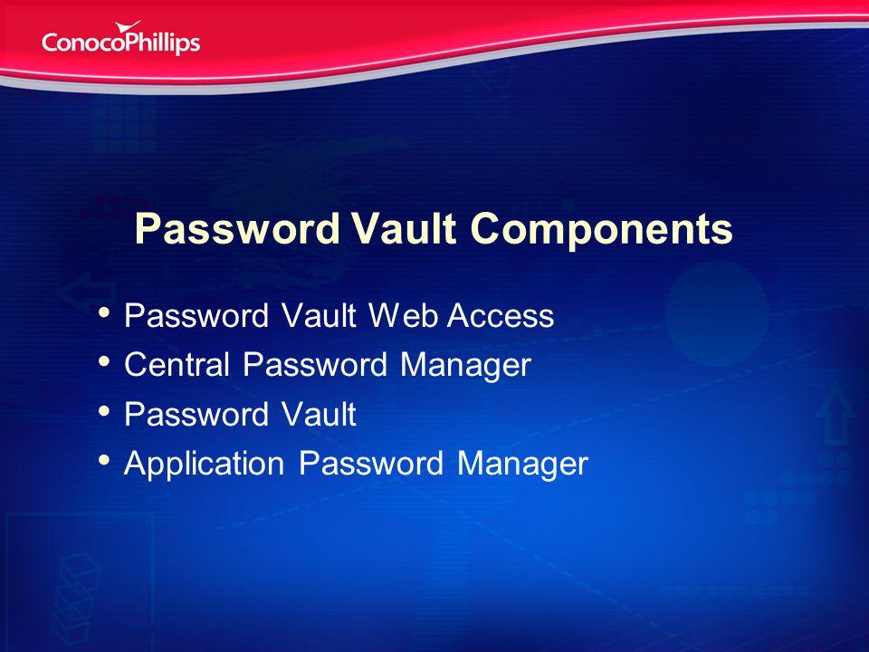 Password Vault Components Password Vault Web Access Central Password Manager Password Vault Application Password Manager