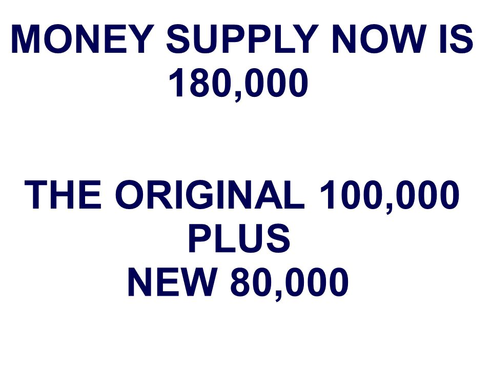 MONEY SUPPLY NOW IS 180,000 THE ORIGINAL 100,000 PLUS NEW 80,000