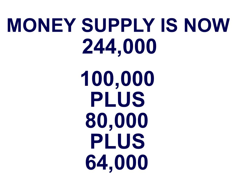 MONEY SUPPLY IS NOW 244,000 100,000 PLUS 80,000 PLUS 64,000