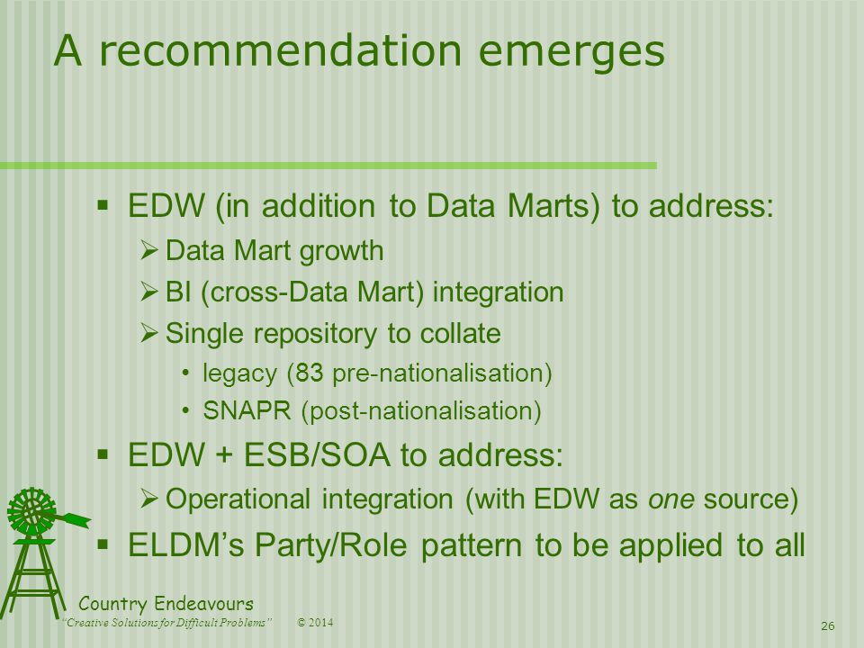 © 2014 Country Endeavours Creative Solutions for Difficult Problems A recommendation emerges  EDW (in addition to Data Marts) to address:  Data Mart growth  BI (cross-Data Mart) integration  Single repository to collate legacy (83 pre-nationalisation) SNAPR (post-nationalisation)  EDW + ESB/SOA to address:  Operational integration (with EDW as one source)  ELDM's Party/Role pattern to be applied to all 26