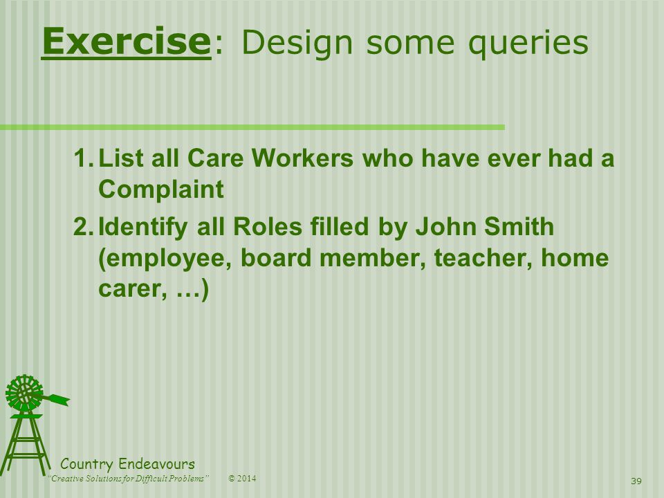 © 2014 Country Endeavours Creative Solutions for Difficult Problems Exercise : Design some queries 1.List all Care Workers who have ever had a Complaint 2.Identify all Roles filled by John Smith (employee, board member, teacher, home carer, …) 39