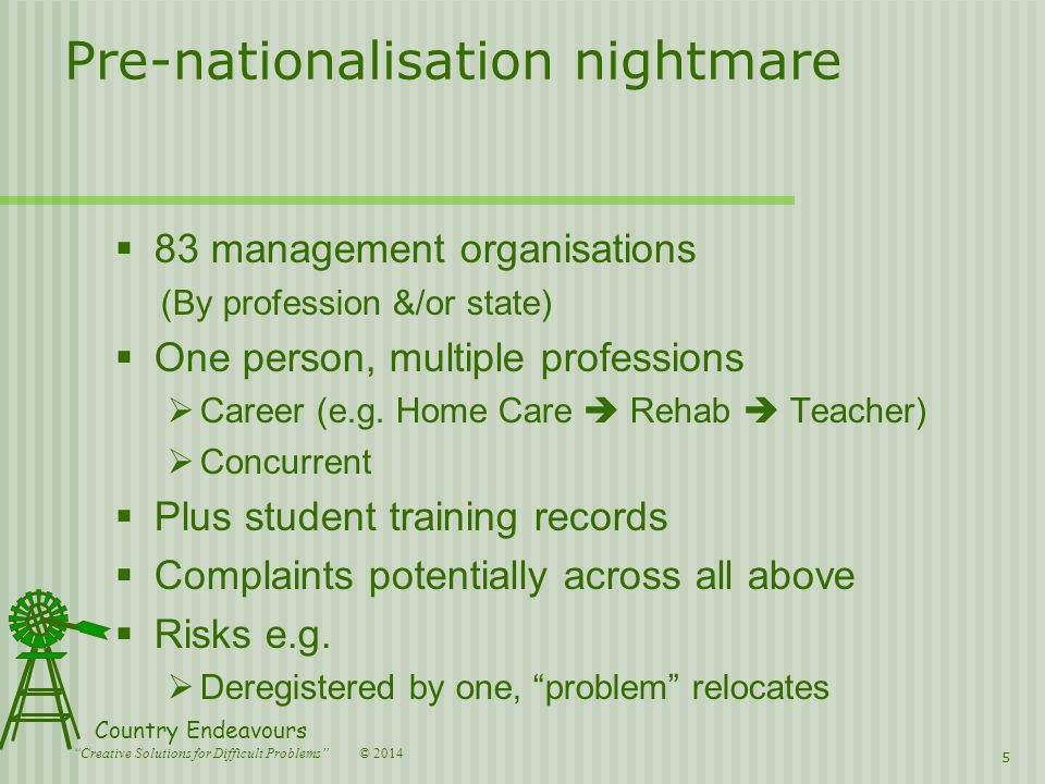 © 2014 Country Endeavours Creative Solutions for Difficult Problems Pre-nationalisation nightmare  83 management organisations (By profession &/or state)  One person, multiple professions  Career (e.g.