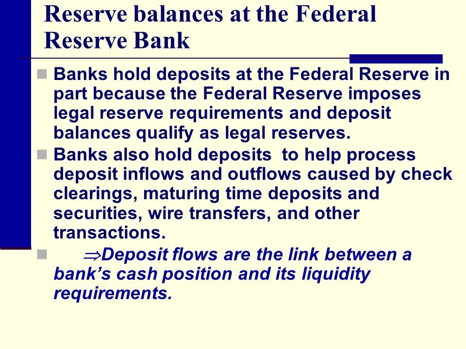 Reserve balances at the Federal Reserve Bank Banks hold deposits at the Federal Reserve in part because the Federal Reserve imposes legal reserve requ