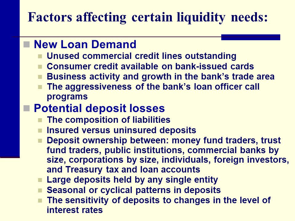 Factors affecting certain liquidity needs: New Loan Demand Unused commercial credit lines outstanding Consumer credit available on bank-issued cards B