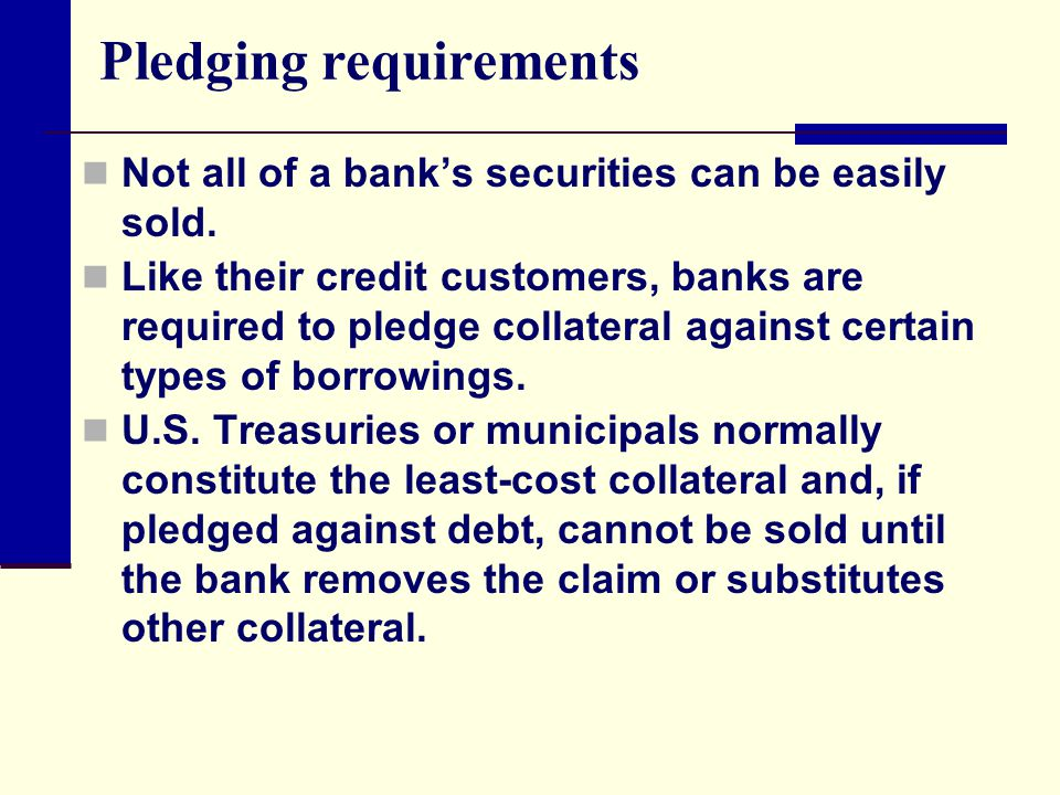 Pledging requirements Not all of a bank's securities can be easily sold. Like their credit customers, banks are required to pledge collateral against