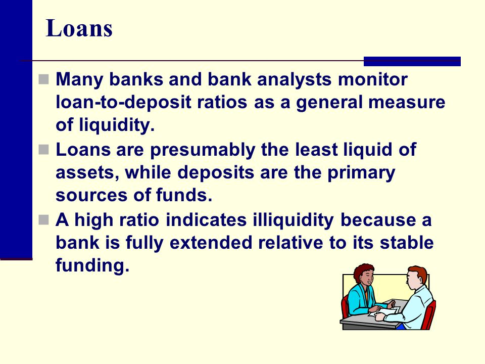 Loans Many banks and bank analysts monitor loan-to-deposit ratios as a general measure of liquidity. Loans are presumably the least liquid of assets,